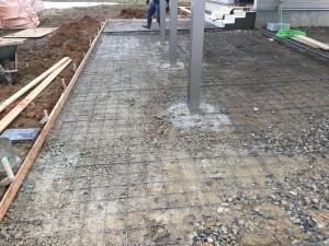 土間コンクリート打設準備。